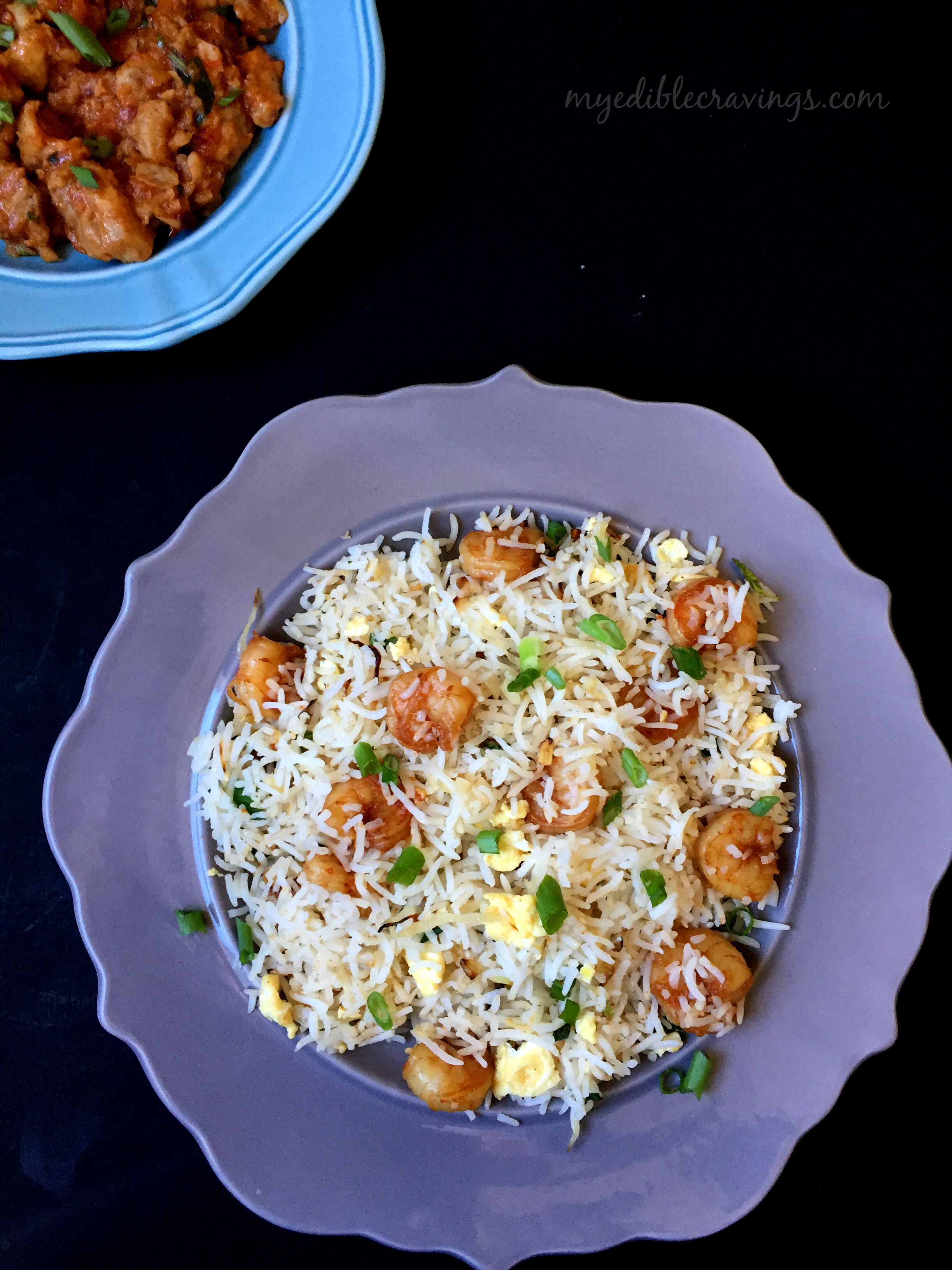 Prawn rice with dragon chicken