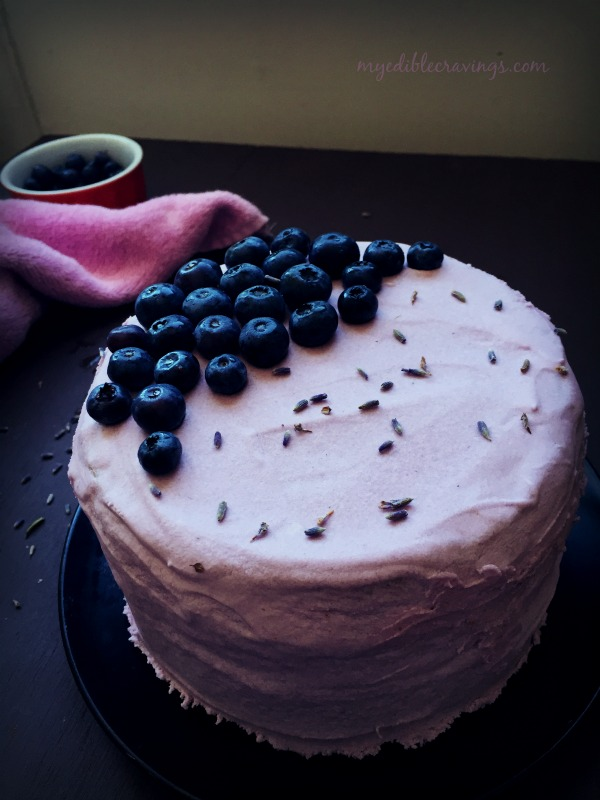 Vanilla Cake with blueberry lavender frosting